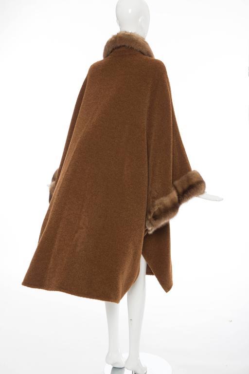 Revillon Alpaca Button Front Cloak - Cape With Sable Trim, Late 20th Century 9
