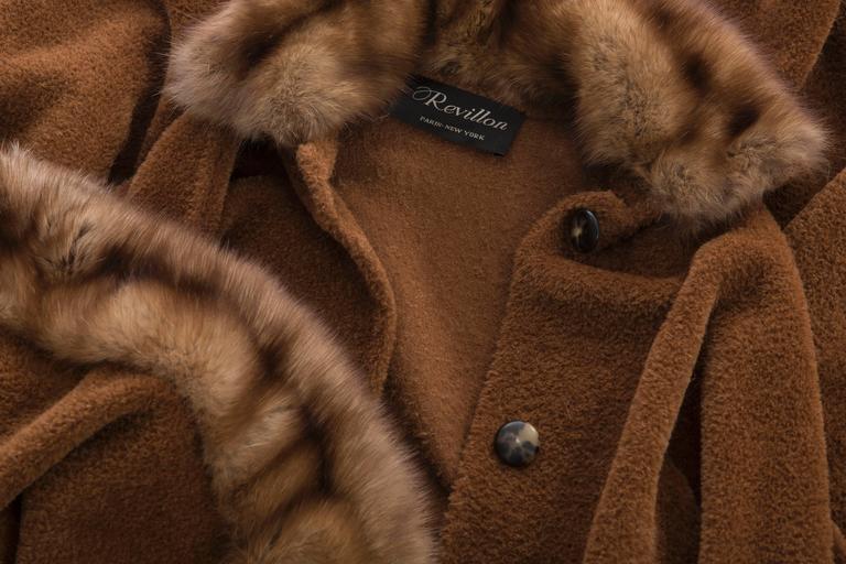 Revillon Alpaca Button Front Cloak - Cape With Sable Trim, Late 20th Century 10