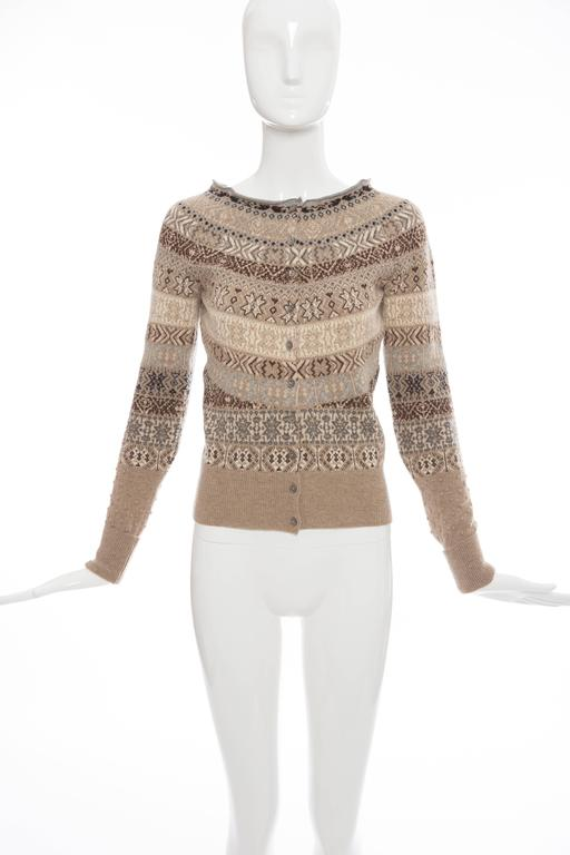"""Alexander McQueen, Autumn - Winter 2005, wool abstract print long sleeve cardigan with bateau neck and button closures at front.  Bust 32"""", Waist 30"""", Length 21"""""""