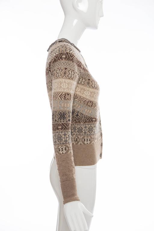 Brown Alexander McQueen Wool Cardigan With Bateau Neckline, Autumn - Winter 2005 For Sale