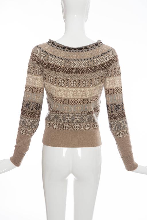 Alexander McQueen Wool Cardigan With Bateau Neckline, Autumn - Winter 2005 In Excellent Condition For Sale In Cincinnati, OH