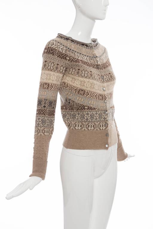Women's Alexander McQueen Wool Cardigan With Bateau Neckline, Autumn - Winter 2005 For Sale