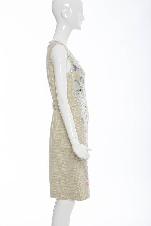 Gray Chanel Wool Tweed Dress Clear Paillettes & Bead Embroidery, Autumn - Winter 2001 For Sale