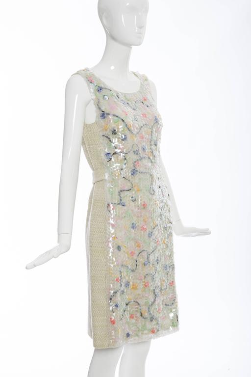Women's Chanel Wool Tweed Dress Clear Paillettes & Bead Embroidery, Autumn - Winter 2001 For Sale