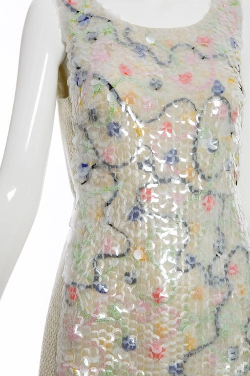 Chanel Wool Tweed Dress Clear Paillettes & Bead Embroidery, Autumn - Winter 2001 For Sale 1