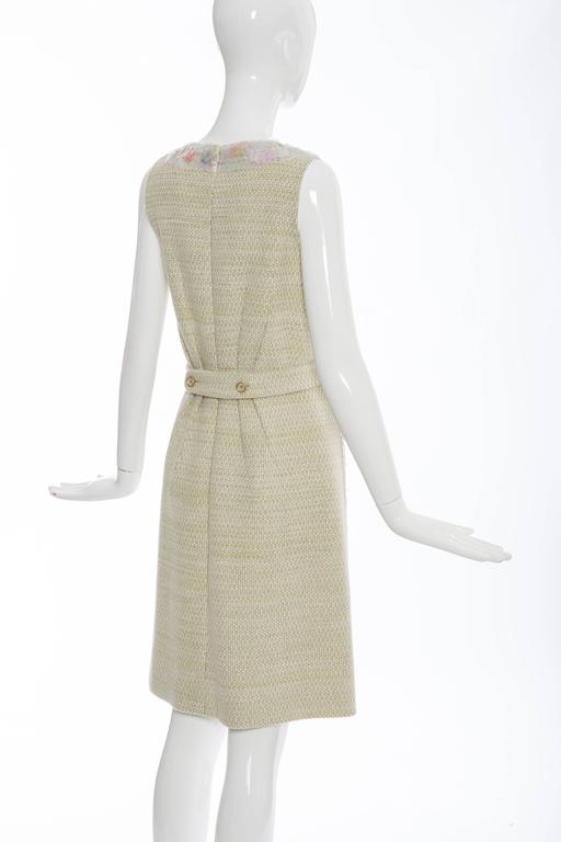 Chanel Wool Tweed Dress Clear Paillettes & Bead Embroidery, Autumn - Winter 2001 For Sale 2