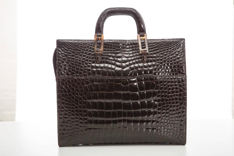 Women's Lana Marks Chocolate Brown Alligator Tote For Sale