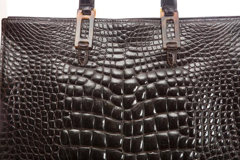 Lana Marks Chocolate Brown Alligator Tote For Sale 1