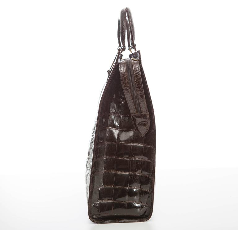 Lana Marks Chocolate Brown Alligator Tote For Sale 2