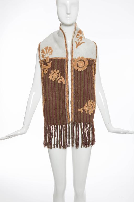 Dries van Noten, Autumn-Winter 2002, silk and wool-blend scarf with embroidery throughout, suede panel featuring shearling trim and fringe trim at ends.  35% Silk, 35% Wool, 30% Leather Measurements: Length 60