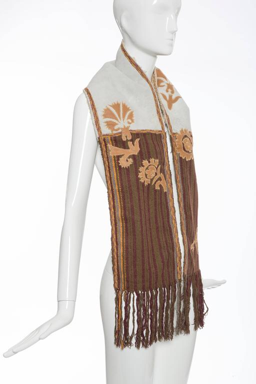 Brown Dries van Noten Runway Shearling Trim Embroidered Scarf , Fall 2002 For Sale