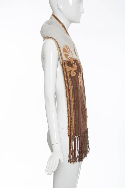 Dries van Noten Runway Shearling Trim Embroidered Scarf , Fall 2002 In Good Condition For Sale In Cincinnati, OH