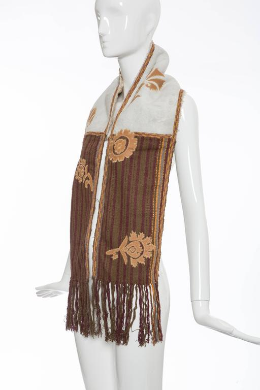 Women's Dries van Noten Runway Shearling Trim Embroidered Scarf , Fall 2002 For Sale