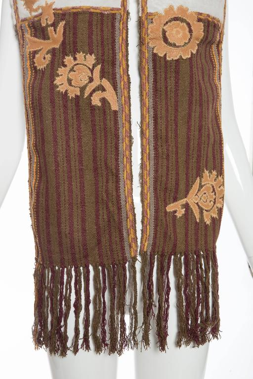 Dries van Noten Runway Shearling Trim Embroidered Scarf , Fall 2002 For Sale 1
