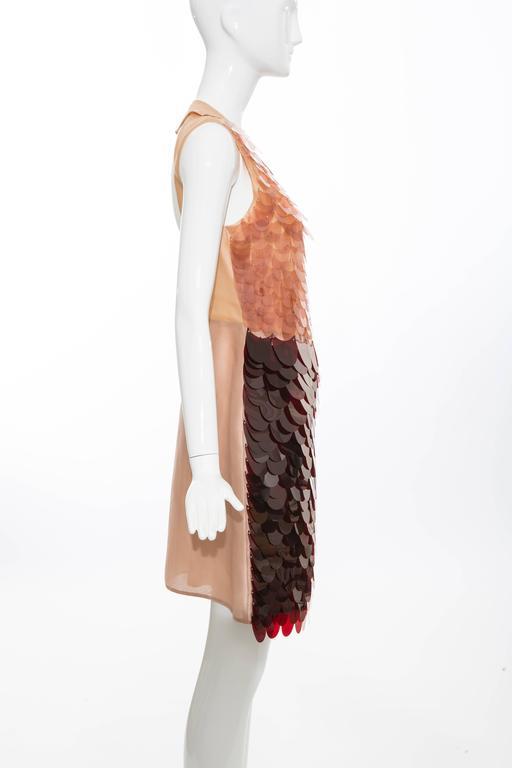 Brown Prada Sleeveless Dress With Large Paillettes And Scoop Back, Fall 2011 For Sale