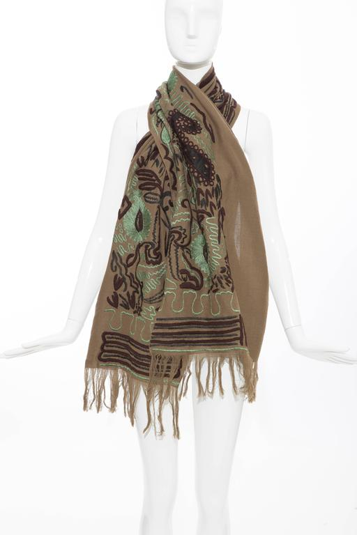 Dries Van Noten Runway Wool Embroidered Shawl, Fall 2002 In Excellent Condition For Sale In Cincinnati, OH