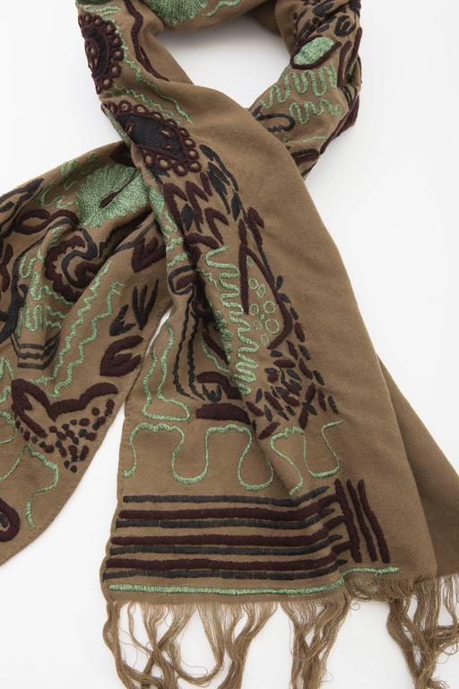 Women's Dries Van Noten Runway Wool Embroidered Shawl, Fall 2002 For Sale
