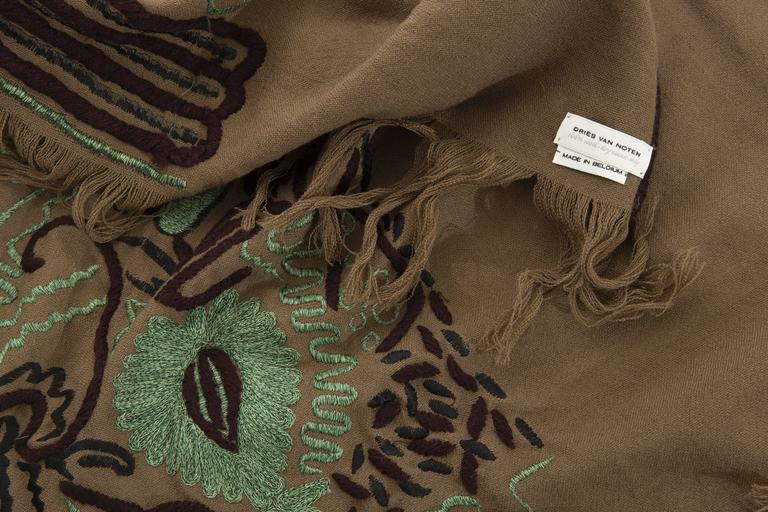Dries Van Noten Runway Wool Embroidered Shawl, Fall 2002 For Sale 2