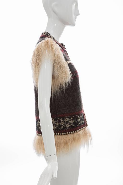 Black Jean Paul Gaultier Wool Vest With Mongolian Fur Trim, Fall 2010 For Sale