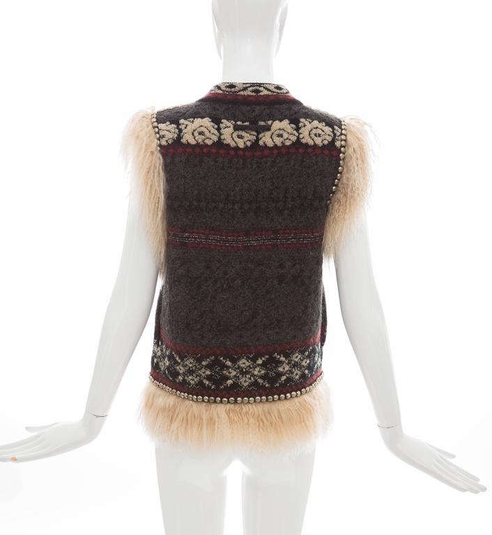 Jean Paul Gaultier Wool Vest With Mongolian Fur Trim, Autumn - Winter 2010 In Excellent Condition For Sale In Cincinnati, OH