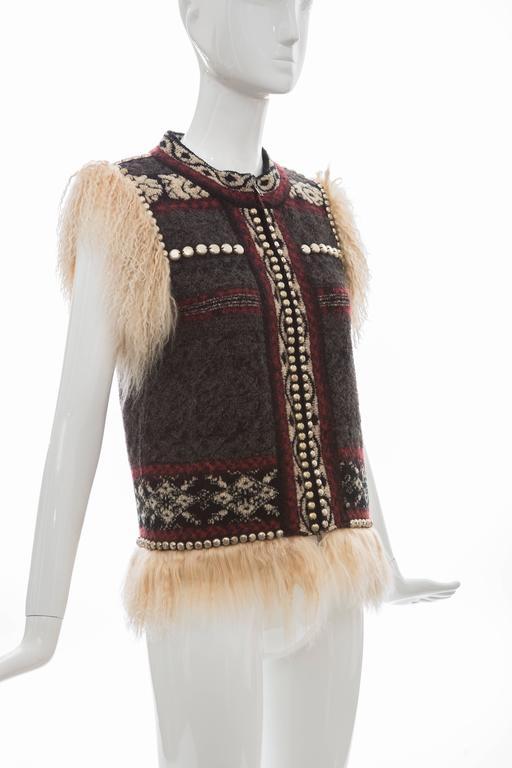 Women's Jean Paul Gaultier Wool Vest With Mongolian Fur Trim, Fall 2010 For Sale