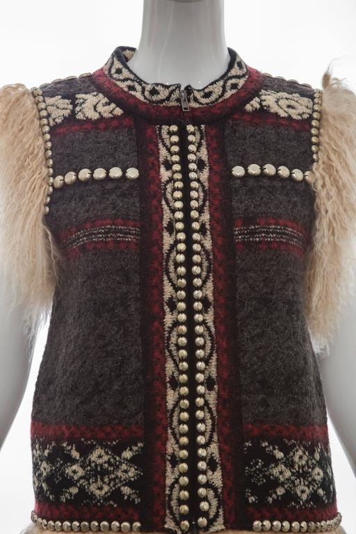 Jean Paul Gaultier Wool Vest With Mongolian Fur Trim, Fall 2010 For Sale 1
