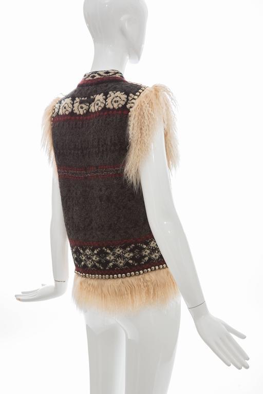 Jean Paul Gaultier Wool Vest With Mongolian Fur Trim, Fall 2010 For Sale 2
