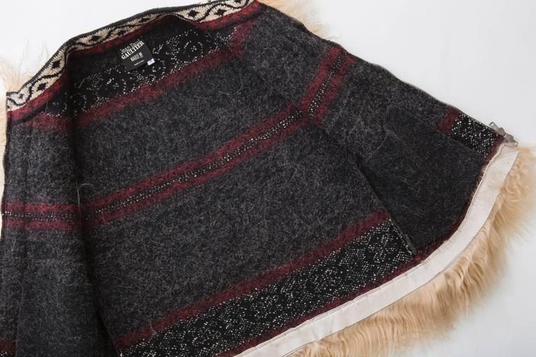 Jean Paul Gaultier Wool Vest With Mongolian Fur Trim, Fall 2010 For Sale 3