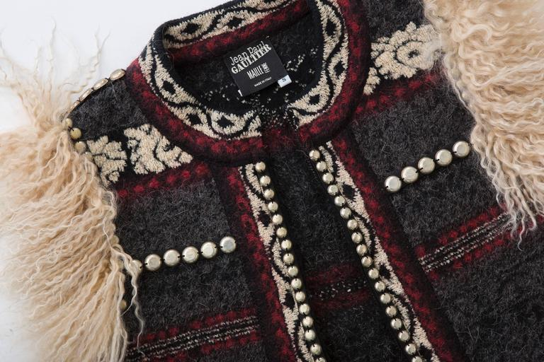 Jean Paul Gaultier Wool Vest With Mongolian Fur Trim, Fall 2010 For Sale 4