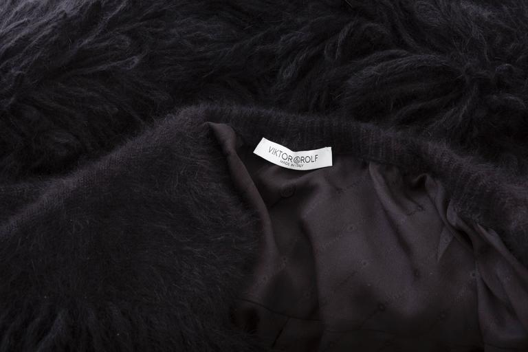 Viktor & Rolf Black Angora Open Front Jacket, Autumn - Winter 2014 For Sale 4