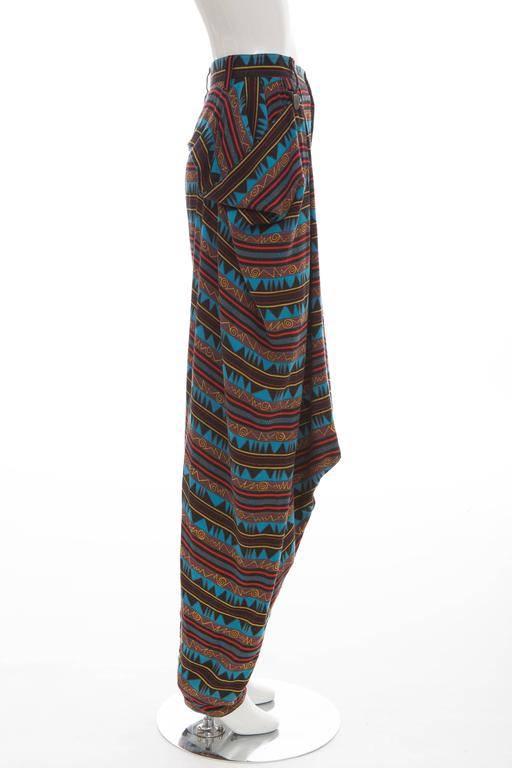 Women's Kansai Yamamoto Printed Harem Pants, Circa 1980's For Sale