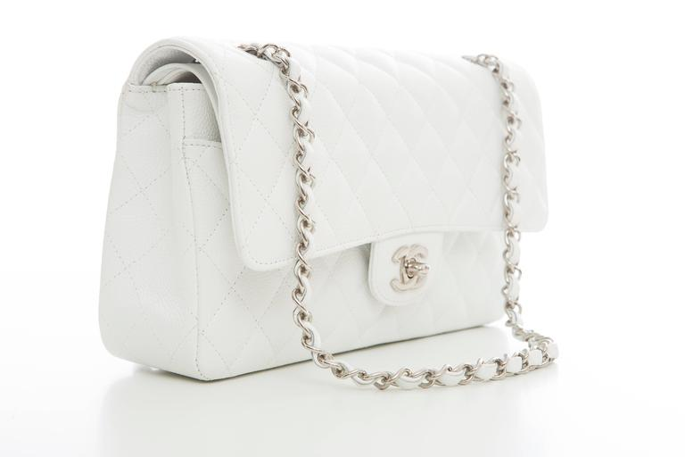 Chanel White Quilted Caviar Medium Double Flap Bag, Spring - Summer 2006 2