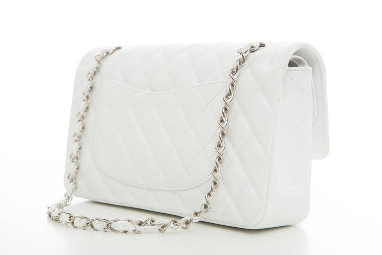 Chanel White Quilted Caviar Medium Double Flap Bag, Spring - Summer 2006 4
