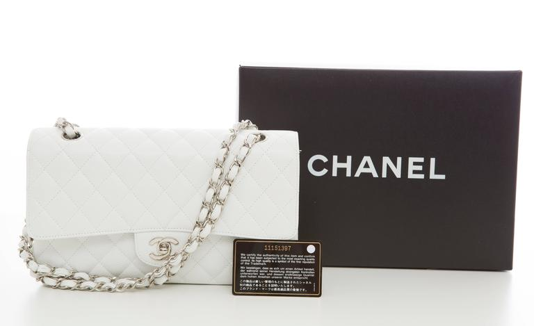 Chanel White Quilted Caviar Medium Double Flap Bag, Spring - Summer 2006 10