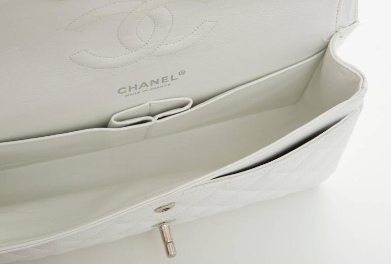 Chanel White Quilted Caviar Medium Double Flap Bag, Spring - Summer 2006 6