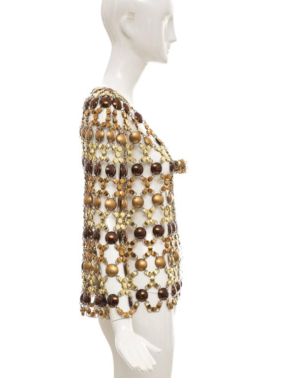 Paco Rabanne Gold & Bronze Metal Chain Mail Top, Circa 1970s In Excellent Condition For Sale In Cincinnati, OH