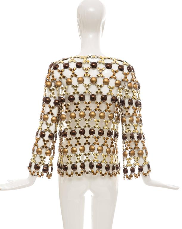 Women's Paco Rabanne Gold & Bronze Metal Chain Mail Top, Circa 1970s For Sale