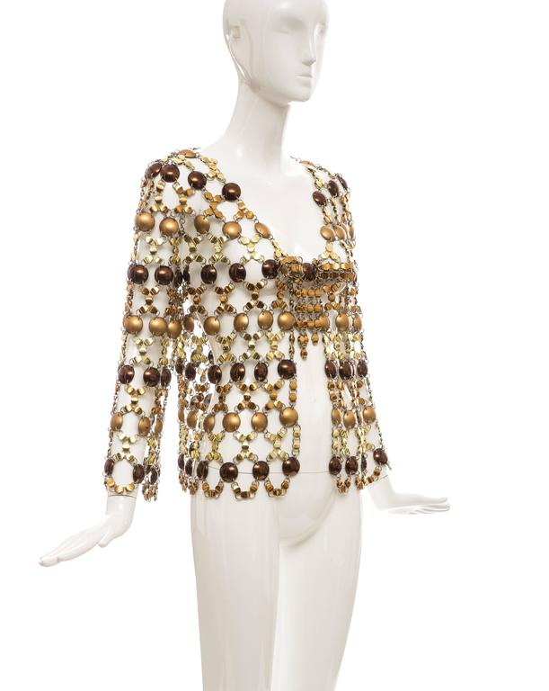 Paco Rabanne Gold & Bronze Metal Chain Mail Top, Circa 1970s For Sale 1
