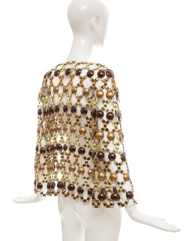 Paco Rabanne Gold & Bronze Metal Chain Mail Top, Circa 1970s For Sale 3