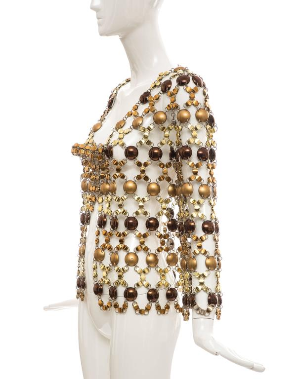 Paco Rabanne Gold & Bronze Metal Chain Mail Top, Circa 1970s For Sale 4