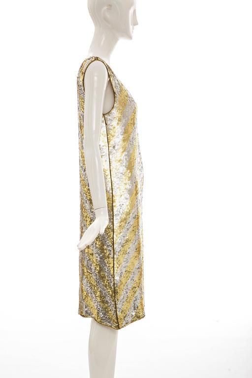 Beige  Marc Bohan for Christian Dior Embroidered Sequin Dress, Circa 1970s For Sale