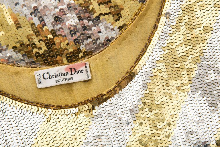 Marc Bohan for Christian Dior Embroidered Sequin Dress, Circa 1970s For Sale 3