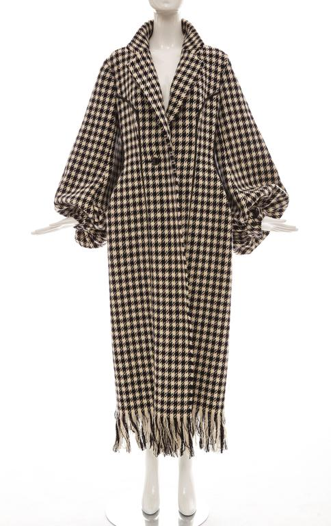 Yohji Yamamoto Black And White Wool Houndstooth Coat, Autumn - Winter 2003 2