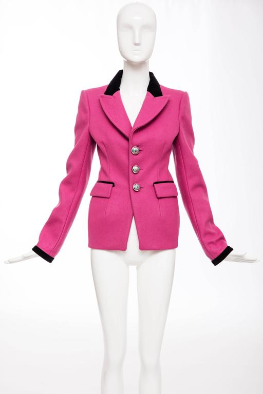 Nicolas Ghesquière for Balenciaga Runway Pink Wool Velvet Blazer, Fall 2007 In Excellent Condition For Sale In Cincinnati, OH