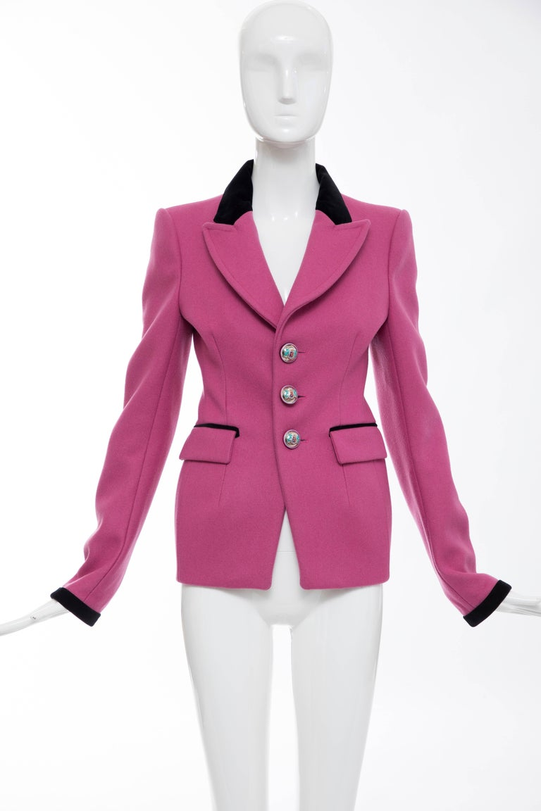 Balenciaga by Nicolas Ghesquière, Autumn-Winter 2007, runway pink structured wool blazer with notched lapel featuring black velvet trim, dual flap pockets at waist, black velvet trim at cuffs and enameled button closures.