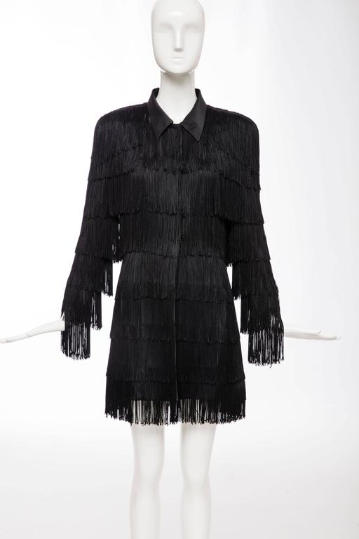 Norma Kamali Omo Black Fringe Long Jacket Circa 1980 S At