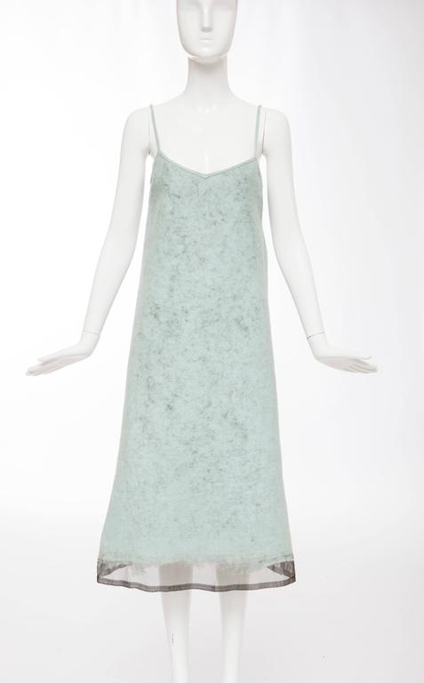 John Bartlett, Autumn-Winter 1999, runway boiled wool shift dress with spaghetti straps and fully lined.