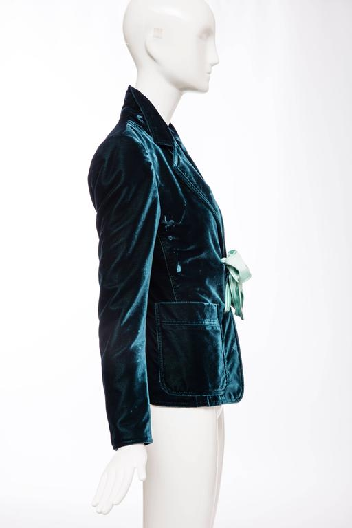Tom Ford For Yves Saint Laurent Emerald Silk Velvet Blazer, Autumn -Winter 2003 2
