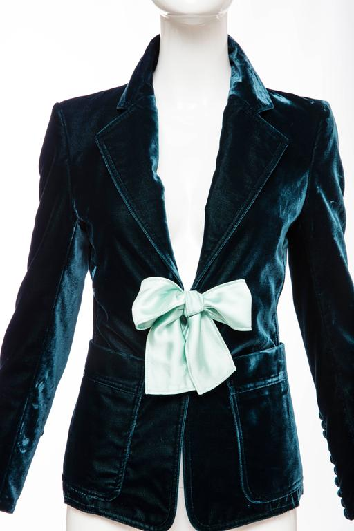 Tom Ford For Yves Saint Laurent Emerald Silk Velvet Blazer, Autumn -Winter 2003 6