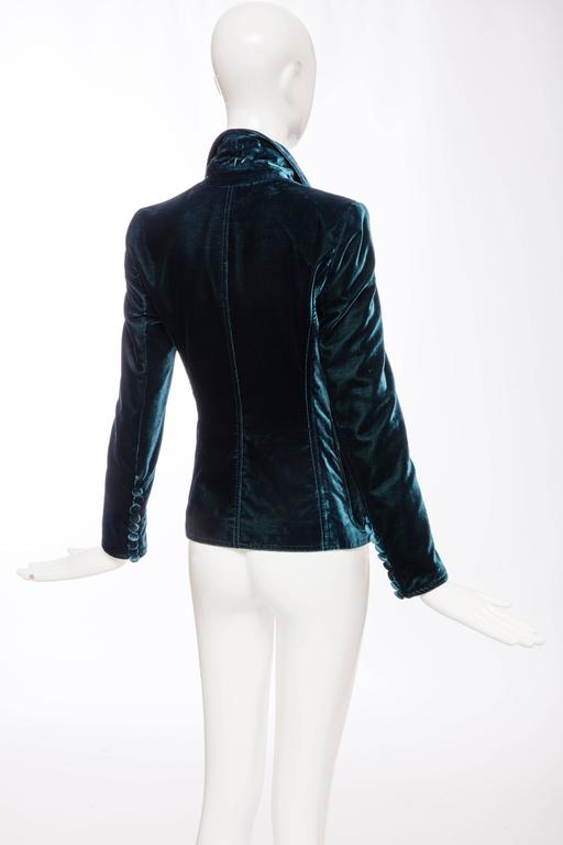 Tom Ford For Yves Saint Laurent Emerald Silk Velvet Blazer, Autumn -Winter 2003 5